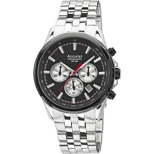 Accurist Men's Quartz Watch with Black Dial Chronograph Display and Silver Stainless Steel Bracelet MB932BB.01
