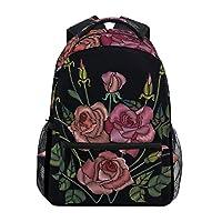 Ahomy Backpack Rose Flower Leaf Pattern Rucksack School Bag for Girls Boys Women Ideal Travel Day Shoulder Pack