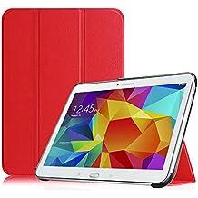 Fintie Samsung Tab 4 10.1 Funda– Súper Delgada y Ligera Funda Carcasa con Soporte Función e Imán Incorporado para el Sueño/Estela para Samsung Galaxy Tab 4 10 pulgadas (Rojo)