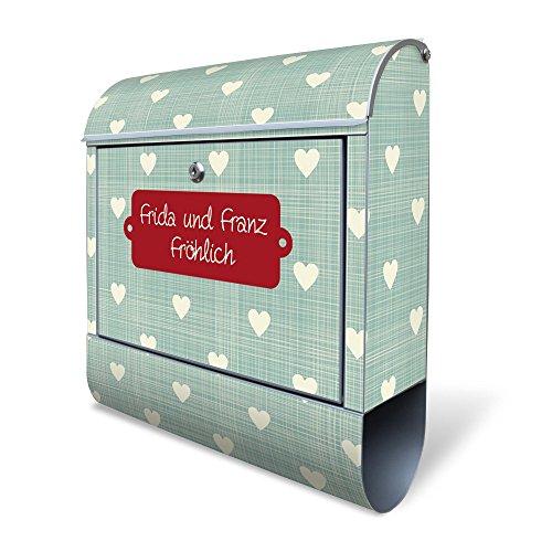 BANJADO Design Briefkasten mit Zeitungsfach, 2 Schlüssel, A4 Einwurf, silber pulverbeschichtet, mit Motiv WT Muster Herzen