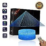 JASZHAO 3D-Pyramide Illusion Lampe USB Lampe Fernbedienung Und Touch RGB 7 Farbwechsel Tisch Nachtlicht Dekoration LED-Tisch Lampe Weihnachtsspiel-Geschenk