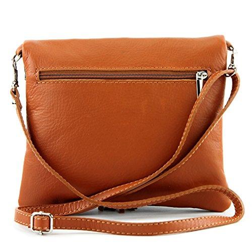 borsa di pelle ital. pochette pochette borsa tracolla Ragazze T139 piccola pelletteria T139 Schwarz/Camel