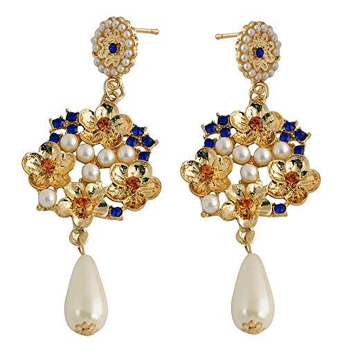 STRIPES Presents EID Special Pearls & Stones Dangler Earrings For Women /...