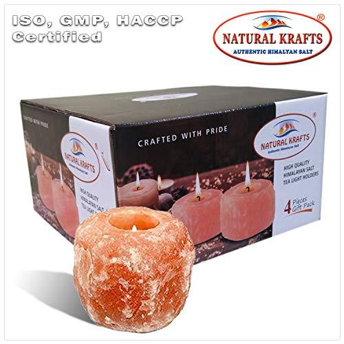 Natural krafts ® supporto per candele di sale in cristallo di rocca dell'himalaya naturale con luce lenitiva | articolo regalo ideale | confezione da 4 pezzi es: