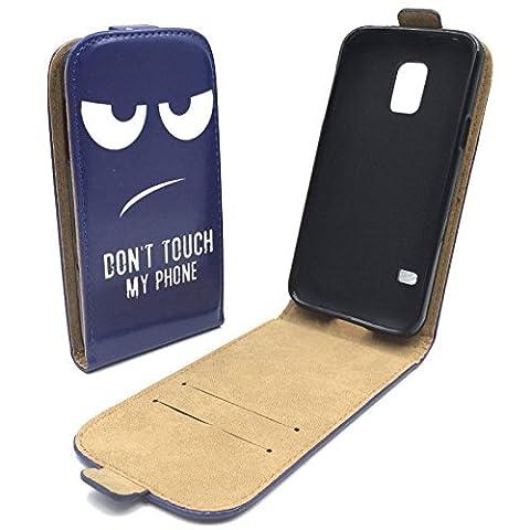König-Shop Samsung Galaxy S5 Mini Handy Hülle Tasche Case Cover Etui Schale Wallet Kunstleder Dont Touch My