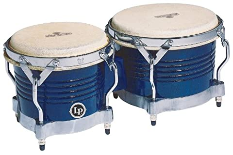 Latin Percussion LP811010 Matador Wood Bongos - Blue/Chrome