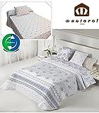 Manterol.- Bouti cubrecama Reversible Cachemire Azul para cama de 150 cm en medida 250 x 270 cm + 2 fundas de cojín 50 x 70 cm