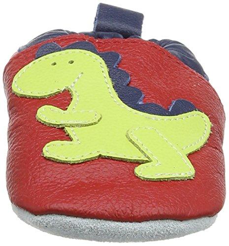 Shooshoos Dinosaur, Chaussures souples bébé garçon Rouge (Red/Lime)