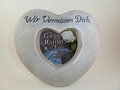 Grabschmuck Herz für Foto mit Spruch Wir vermissen dich Trauerschmuck Gedenkstein Fotoherz wetterfest