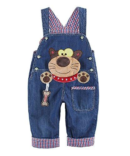 Baby Jungen Mädchen Denim Latzhose Kleinkind Hosenträger Jeans Overall Waschbär Herstellergr.90 - Deutsche Gr.86/92