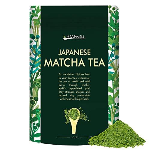Matcha-Tee-Pulver 50g | Aus Kyoto Japan | Machen Sie Smoothies, Lattes, Milchshakes, Kuchen, Desserts, Eiscreme | Am besten für Gewichtsverlust, Vegan und Gesundes Leben | Heapwell Superfoods