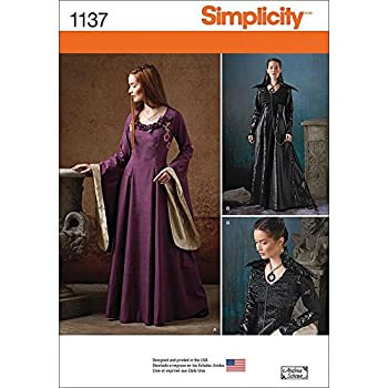 Simplicity Nähmuster 1137 Mittelalter-Fantasiekostüme für Damen, H5 ...