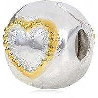 Placcato oro intrecciato di fascino del cuore della clip autentico argento 925 Compatibile con catena braccialetto europeo - Argento Placcato Orecchini Di Fascino