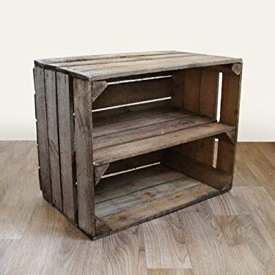Bookcase: Small Wooden Bookshelf - Rustic Vintage Wood Long Shelf (Landscape)/ Handmade in Kent from reclaimed apple crates