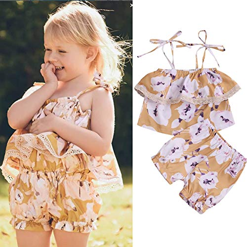HaiQianXin Kinder Baby Kleinkind Mädchen Floral Outfit Set Slip Tube Top Shirt + Hosen Shorts 2 teile/satz 1-6Yrs (Size : 4T-5T) (Mädchen Slip 3 4t)