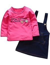 2PCS Bebé estampado camiseta +Denim falda Vestido ropa Conjunto,Yannerr Recién nacido niña niño primavera vaqueros tejana bordada Jeans manga larga top mono abrigada abrigo traje