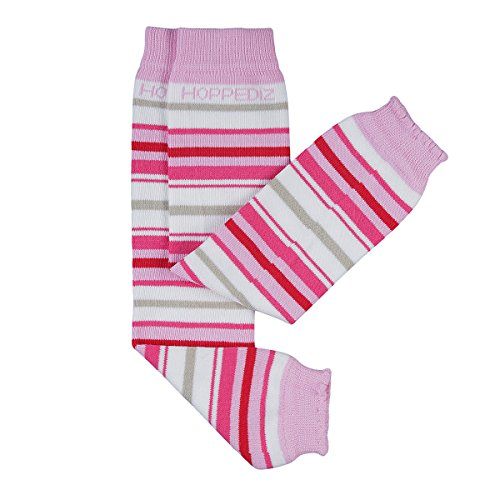 HOPPEDIZ® Baby-Stulpen aus Bio-Baumwolle weiss mit rosa- und pinken Streifen