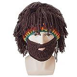 TININNA Creativo Crochet Lavorata a maglia Cappello di madman Cappello da parrucca Berretto Passamontagna a maglia Beanie Hat Cappello con barba(Brown#2)