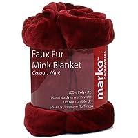 Marko Homewares Mink Blanket Luxury Faux Fur Throw Blanket Sofa Double Bed Size Soft Warm Fleece (Wine)