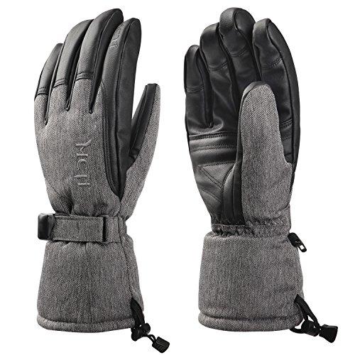 Kineed Winter Skihandschuhe Herren Snowboard Extrem Warm Wasserdicht Fahrrad Motorrad Handschuhe 3M Thinsulate Thermo Grau S
