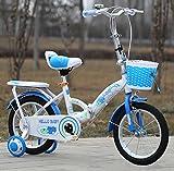 YEARLY Kinderfahrrad, Schüler klappräder Baby fahrrad Kinderwagen Super leichtes Portable Klappräder Für 5-9 jahre alt-Blau 18inch