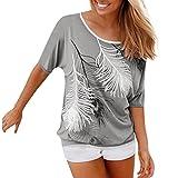 VEMOW Sommer Mädchen Frauen Damen O Hals Tägliche Beiläufige Mode Kurzarm Gedruckt Bluse Tops Kleidung T-Shirt Pullover(Grau, EU-46/CN-XL)