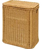 Honig-farbener Rattan-Wäschekorb / Wäschebox mit schönem Streifen-Muster