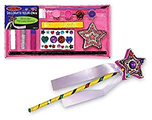 Melissa & Doug Decorate-Your-Own Wooden Princess Wand W/ 2 Extra Glitter Glue Tubes and 3 Extra Paint Brushes