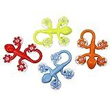 COM-FOUR® 4x Gecko Saugnapf Wandhaken bunt, klein, 7 x 5,5 cm, in verschiedenen variierenden Farben (4 Stück klein)