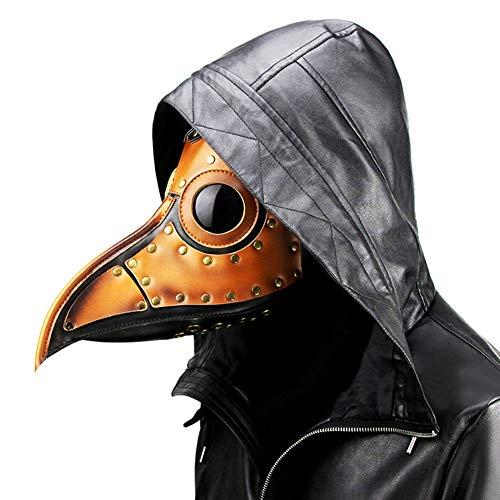 Vogel Schnabel Maske, Pest Doktor Vogel Kopf Maske, Gothic Steampunk Ledermaske für Männer und Frauen Erwachsene, Kostüm Requisiten für Maskerade Halloween (Ost Kostüm Für Erwachsene)
