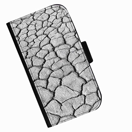 Hairyworm - Grey cracked earth LG G3 S (D722, D725, D728, D722K, D724) leather side flip wallet phone case, cover with card slots, money slot and magnetic clasp to close. LG3 S photo phone case