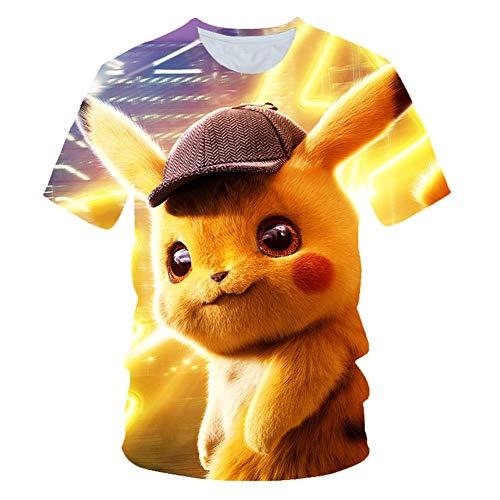 Buberryi Kind T-Shirt,Mesh Tuch Atmungsaktiv Sommer Kind Kurze Ärmel,Großer Detektiv Pikachu 3D Kind Kleidung,I,140 (Oder Junge Ein Mädchen Pikachu Ist)