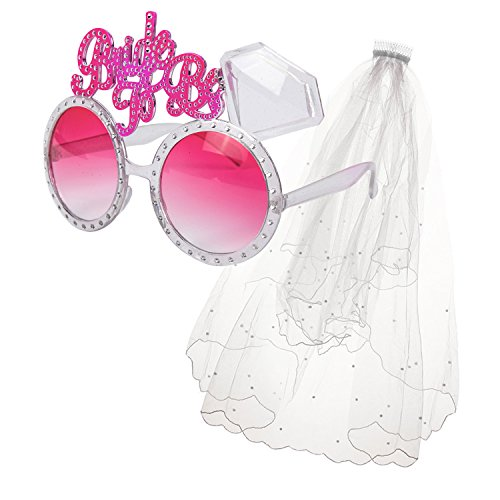 """Hen Party / Bride To Be Selfie Glasses + Veil On Comb - Choose Style (Veil + Silver/Pink """"Bride To Be"""" Glasses)"""
