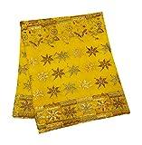 PEEGLI Jahrgang Traditionelle Gestickte Dupatta Gelbe Seide