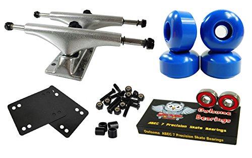 owlsome 5,25poliert Aluminium Skateboard Trucks W/52mm Rollen Combo Set, blau