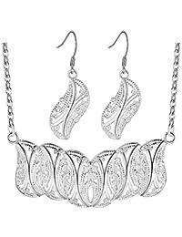 83ce88d6c327 Purmy Mujer Conjunto de Joyas Plateado Collar Aretes Set Calado Hojas Forma  Diseño Sencillo Retro Estilo