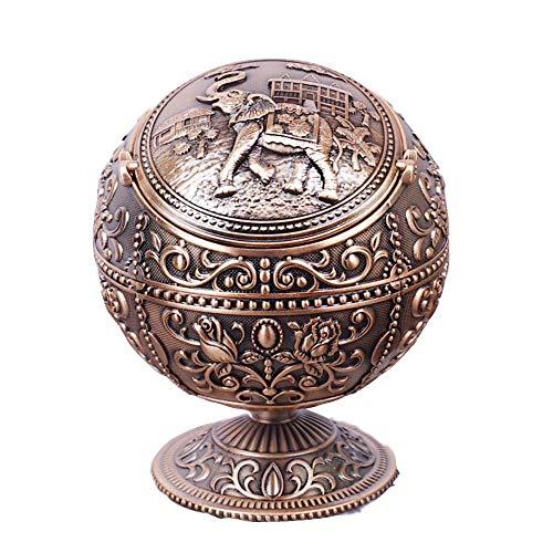 YTHX Aschenbecher Globe Aschenbecher Mit Abdeckung Mode Persönlichkeit Multifunktionale Home Room Tellurian Retro AschenbecherSiehe Grafik