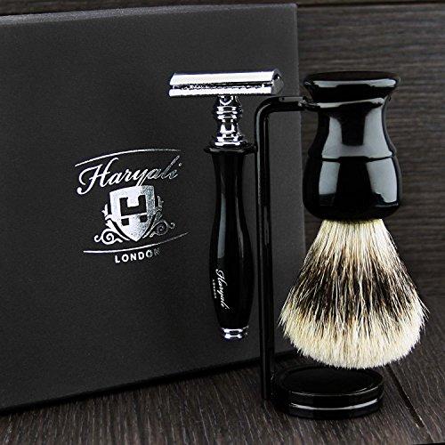 Kit de rasage de la Couleur Noire Hommes avec pointe argentée blaireau cheveux blaireau de support double pour rasoir, Brosse, le long de Rasoir.