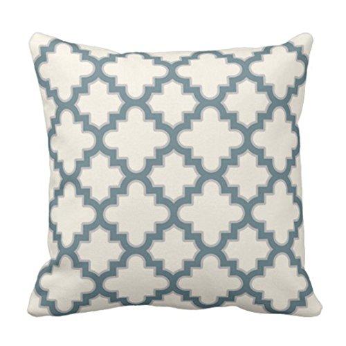Teal Clover Modernes marokkanisches Quatrefoil im blauen grauen bunten geometrischen dekorativen Kissen-Ausgangsdekor-Quadrat-Kissen ()