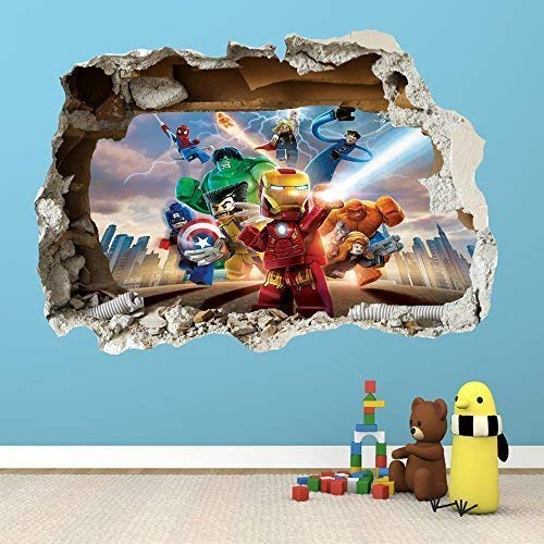LEGO SUPER HEROES SMASHED WALL STICKER - 3D BEDROOM BOYS GIRLS WALL ART DECAL by worldofwallart (Super Girl Heros All)