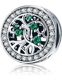 Ciondolo Charm Albero Della Vita Famiglia con Verde Zirconia Cubica in Argento Sterling 925 per Donna Collana Bracciali