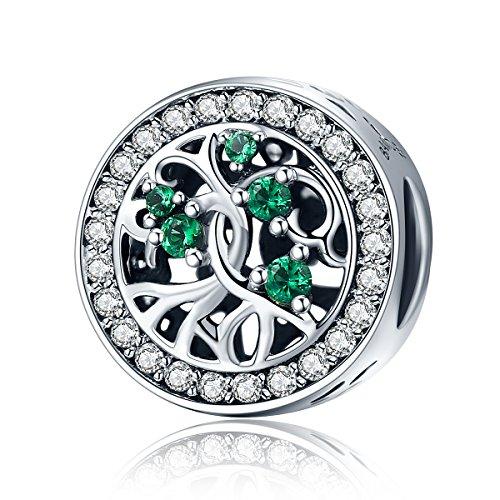 Baum des Leben 925 Sterlingsilber Anhänger mit Grün Zirkonia für Damen Armband Halskette