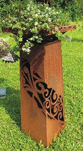 'Pot de fleurs colonne rouille/Sculpture \\