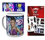 Set: Wrestling, WWE, Bailey Foto-Tasse Kaffeetasse (9x8 cm) Inklusive 1 Wrestling Tattoo Pack (17x10 cm)