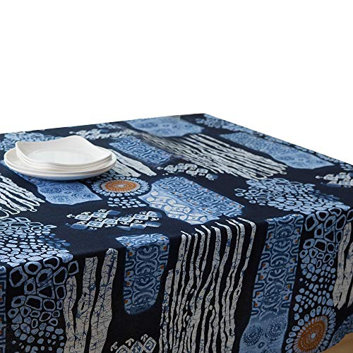 Arteki Tablecloths Cideros Vintage Outdoor Tablecloths Square Cotton Linen Lace Sun Flower Tablecloth Rectangle Dinner Dust-Proof Table Cover for Home Hotel Cafe Restaurant (Dark Blue Sun Flower)