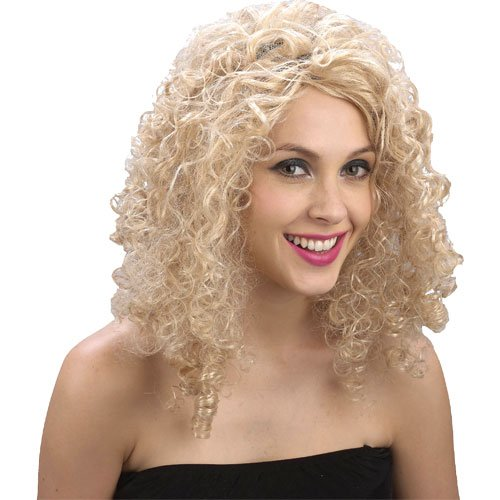 Ladies 80s Curly Blonde Wig for 80s Retro Fancy Dress