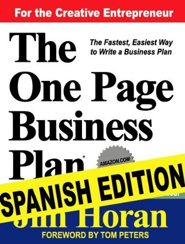 The One Page Business Plan -Spanish Edition with CD by Jim Horan (2009-05-14)