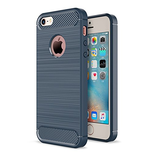 Xelcoy® Rugged Armour Shockproof Soft TPU Carbon Fibre Brushed Metallic Texture Case Cover for iPhone 5 5s - Navy Blue  available at amazon for Rs.299