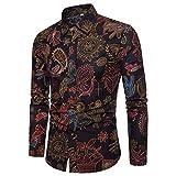 GreatestPAK Tops Herren Slim Shirt Sommer Casual Bluse Langarm gedruckt Tops,Kaffee,M