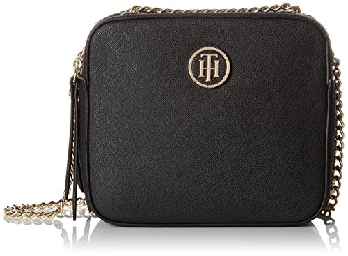 Tommy Hilfiger Damen Camera Bag Icon Clutch, Schwarz (Black), 7.5x16.5x14.5 cm (Handtasche Hilfiger Tommy)